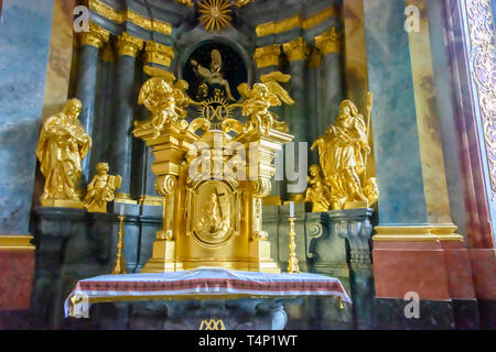 Highly ornate baroque style chapel witihn the Katedra greckokatolicka pw. św. Wincentego i św. Jakuba (Greek catholic cathedral of Saint Winceslas and - Stock Image