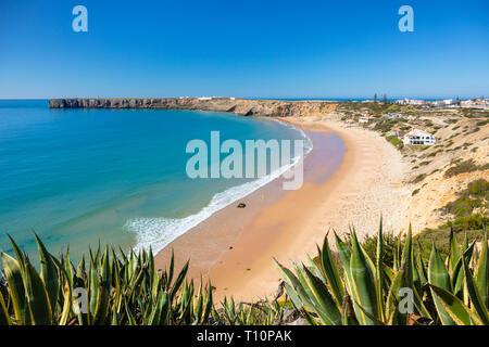 Mareta Beach Sagres beach Praia da Mareta Sagres Algarve Portugal EU Europe - Stock Image