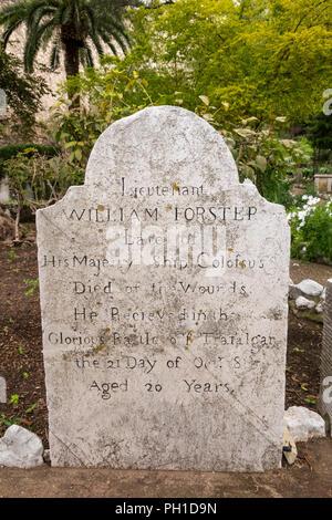 Gibraltar, Main Street, Trafalgar Cemetery, burial ground, 1805 grave of William Forster, of HMS Collossus who died in Battle of Trafalgar - Stock Image