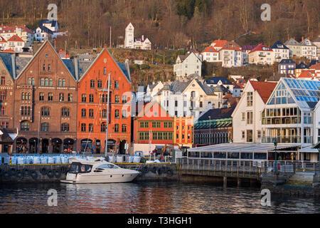 Waterfront city view Bryggen Vagen Bergen Norway - Stock Image