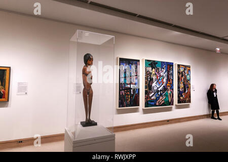 Sculpture, vigilant and the The Beginning, by Max Beckmann , The Metropolitan Museum of Art, Manhattan, New York USA - Stock Image
