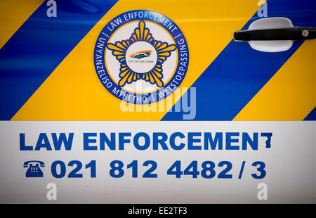 City of Cape Town logo and 'Law Enforcement' sign on a vehicle in central Cape Town,. South Africa. - Stock Image