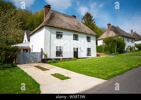 Thatched houses in the village of Milton Abbas, Dorset, England, UK - Stock Image