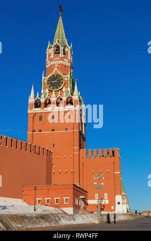 Spasskaya tower of Moscow Kremlin, Red square, Moscow, Russia - Stock Image