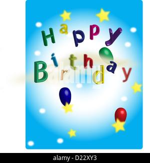 A Happy Birthday postcard. - Stock Image