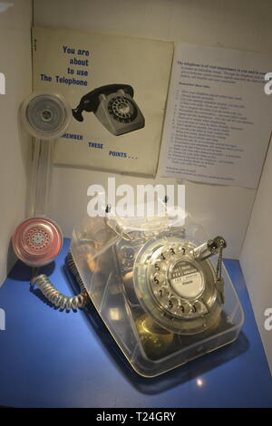 Telephone type 746 from 1967 to the late 1980s, in the Connected Earth Exhibition at the Milton Keynes Museum, Wolverton, Buckinghamshire, UK - Stock Image