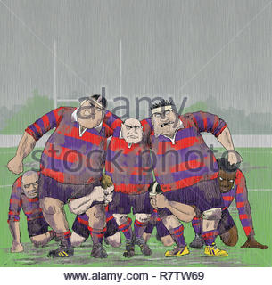 Snarling aggressive older rugby players forming scrum - Stock Image