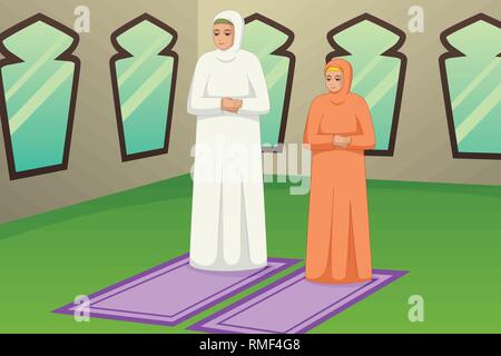 A vector illustration of Muslim Mother and Daughter Praying at Mosque - Stock Image