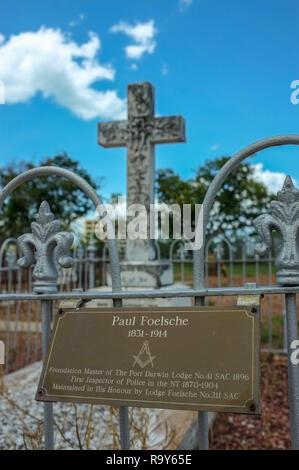 Grave of Paul Foelsche at the Pioneer Cemetery formerly called Palmerston Cemetery in Darwin city, Northern Territory, Australia. - Stock Image