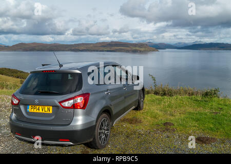 Panoramic views over Loch Slapin and Loch Eishort from high in the coastal road at Drinan near Elgol on the isle of Skye, Scotland, UK - Stock Image