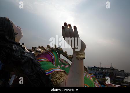 People and crowd during Durga puja celebration in Kolkata, India - Stock Image