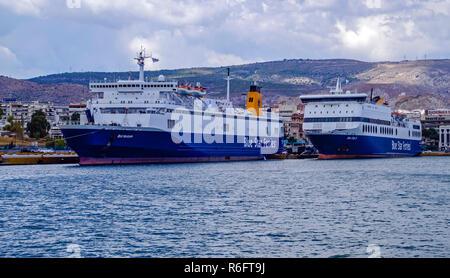 Blue Star Ferries Blue Horizon & Blue Star 2 moored in port of Piraeus Athens Greece Europe - Stock Image