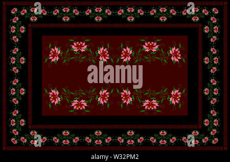 Burgundy tablecloth with black border framed by embroidered stylized flowers with red and pink petals on twisted branches with leaves - Stock Image