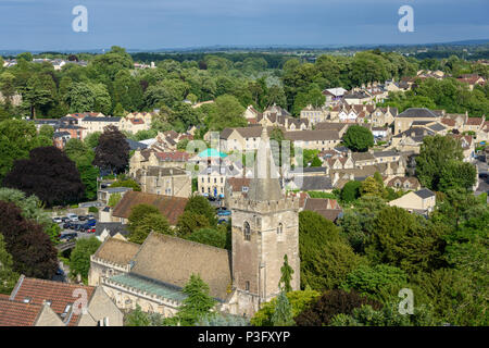 The summer evening view out over Bradford on Avon taken from Tory place. - Stock Image