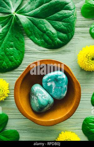 Chrysoprase with Shamrocks and Yellow Chrysanthemums - Stock Image