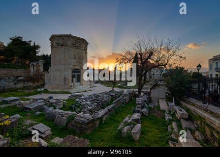 Sunset at ancient Roman market - Monastiraki Sunset at Aerides at ancient Roman market - Monastiraki - Stock Image