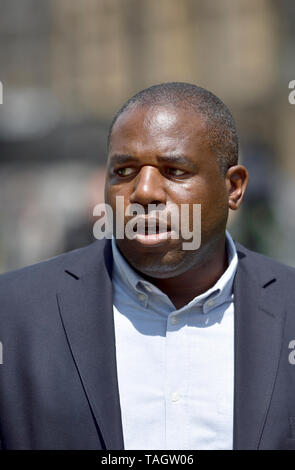 David Lammy MP (Labour: Tottenham) on College Green, Westminster, 24th May 2019, the day Theresa May announced her intent to resign as Conservative Pa - Stock Image