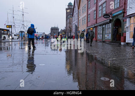 Bergen, Norway. 12th January, 2017. Norwegian weather: UNESCO World Heritage Site Bryggen, German Warf escaped a - Stock Image