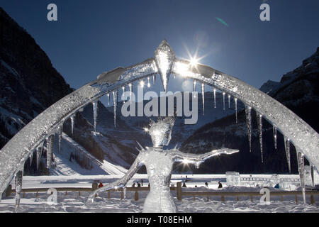 Ice Sculpture Lake Louise Alberta Canada Chateau - Stock Image