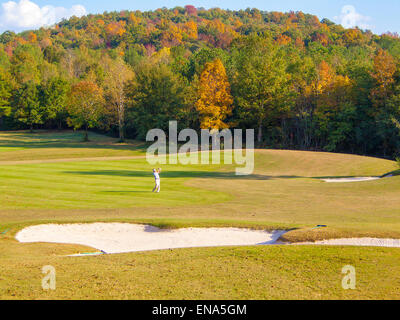 American golf course in the Fall - Autumn golf New England - Stock Image