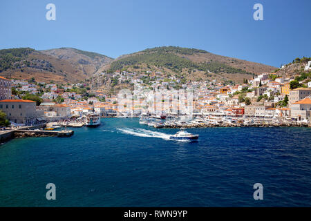 Hydra Island/Greece - 27 August 2018: A power outage has left holidaymakers on the Greek island of Hydra without electricity and water supply system - Stock Image
