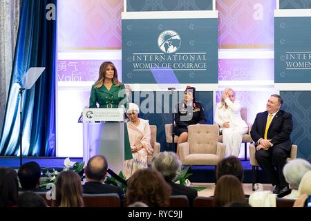 U.S First Lady Melania delivers remarks at the 2019 International Women of Courage awards ceremony at the State Department March 7, 2019 in Washington, DC. - Stock Image