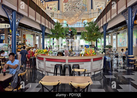 Restaurant and food hall at the modern Central Marina shopping mall, Pattaya, Thailand, Southeast Asia - Stock Image