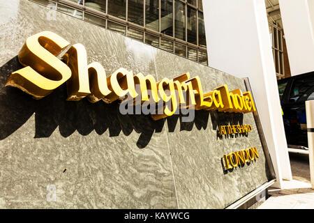 Shangri la hotel london, Shangri-La Hotel sign at the Shard London England UK, Shangri-La Hotel at the Shard London - Stock Image