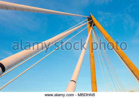 Marine Way Bridge, Southport, opened in 2004 The bridge is a asymmetric cable stayed bridge, with the deck supported from an A frame pylon, England UK - Stock Image