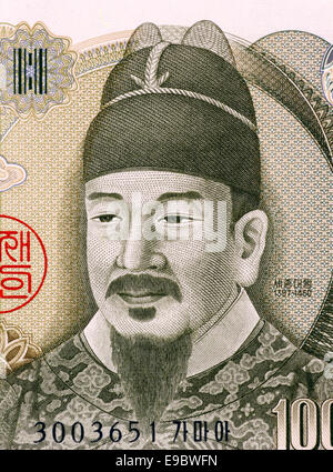 Sejong the Great (1397-1450) on 10000 Won 2000 Banknote from South Korea. Fourth king of Joseon during 1418-1450. - Stock Image