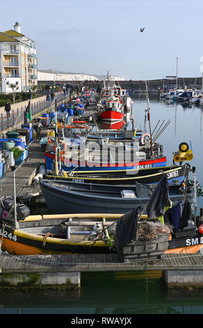 View of Brighton marina fishing boats at the East Quay - Stock Image