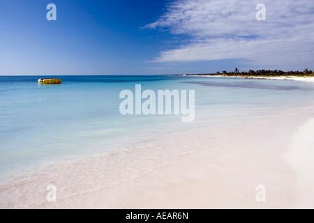 Beautiful beach and blue sea at Dreams Tulum, Tulum, Quintana Roo, Mexico - Stock Image