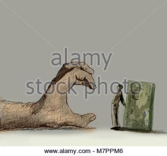 Man protecting pile of money from large grabbing hand - Stock Image
