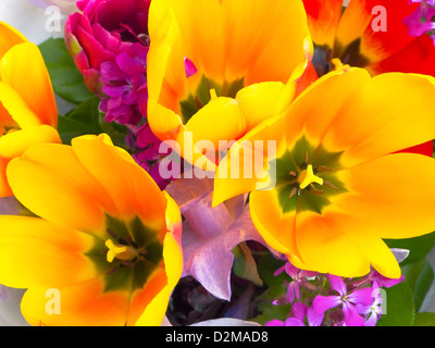 Bouquet of flowers sold at farmer's market - Stock Image