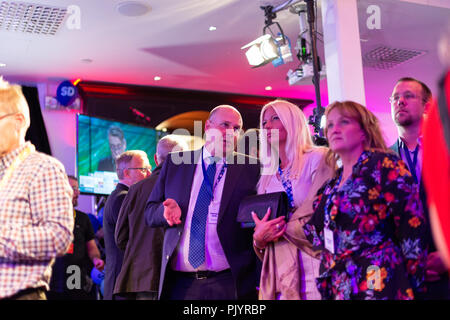Stockholm, Sweden, September 9, 2018. Swedish General Election 2018.  Election Night Watch Party for Sweden Democrats (SD) in central Stockholm, Sweden. Patrick Reslow (SD), left. Credit: Barbro Bergfeldt/Alamy Live News - Stock Image