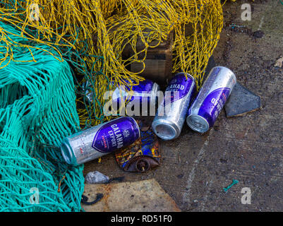 beer tins littering ground - Stock Image