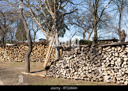Stacked chopped firewood and kindling for domestic use during winter time in Lower Austria - Stock Image