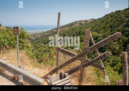 Signposts at the old village of Mili Rethymno county Crete Greece - Stock Image