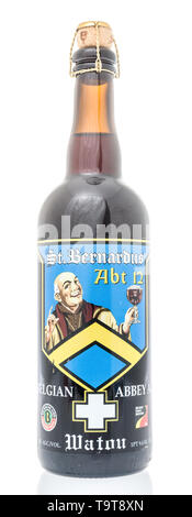 Winneconne, WI - 12 May 2019 : A bottle of St Bernardus ABT abbey ale with cork on an isolated background - Stock Image