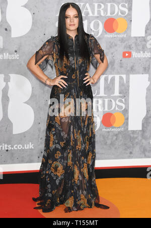 The Brit Awards 2019 held at the O2 - Arrivals  Featuring: Lily Allen Where: London, United Kingdom When: 20 Feb 2019 Credit: WENN.com - Stock Image