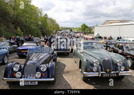 Morgan Plus 8 (2001) and Jaguar XK150 (1960), British Marques Day, 28 April 2019, Brooklands Museum, Weybridge, Surrey England Great Britain UK Europe - Stock Image