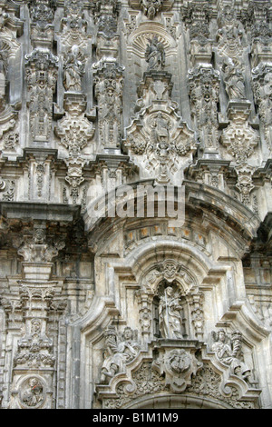 Detail of the Carvings on the Metropolitan Cathedral, Zocalo Square ,Plaza de la Constitucion, Mexico City, Mexico - Stock Image