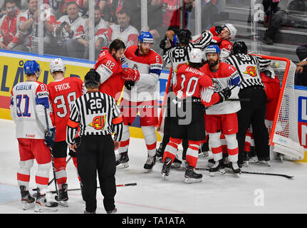 A skirmish during the match between Czech Republic and Switzerland within the 2019 IIHF World Championship in Bratislava, Slovakia, on May 21, 2019. (CTK Photo/Vit Simanek) - Stock Image