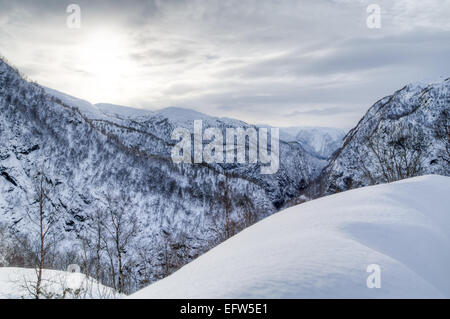 Picture of a vally with snowy mountains - Stock Image