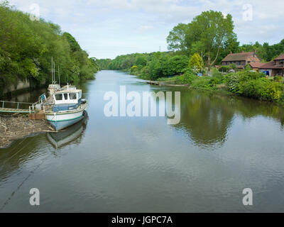 Wooden pleasure Leisure Boat Moored On The River Wear at Cox Green Washington Uk - Stock Image