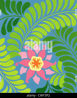 Poster color brush painting on art paper - Stock Image
