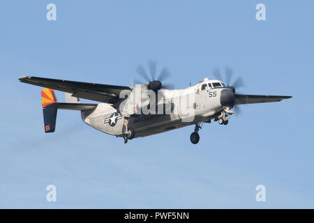 USN Grumman Greyhound from VRC-40 embarked aboard the USS Harry S Truman landing at RAF Mildenhall for a quick stop before returning to the carrier. - Stock Image