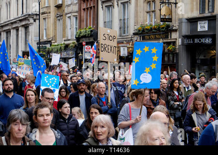 London, UK, 23rd March 2019. Over a million people march in central, demanding another brexit vote. Credit: Yanice Idir / Alamy Live News - Stock Image