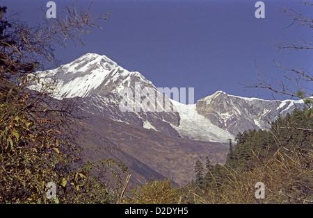 Dhaulagiri and Tukuche peaks from near Lete in Kali Gandaki valley on Annapurna circuit Himalayas Nepal - Stock Image