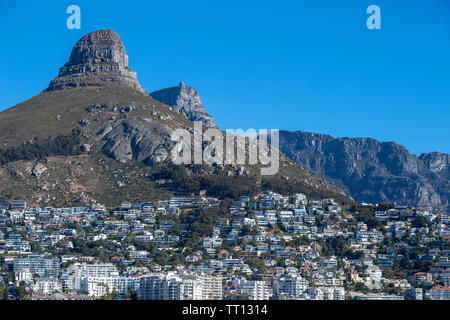 The city of Cape Town in South Africa stretching out beneath peaks close to Table Mountain - Stock Image